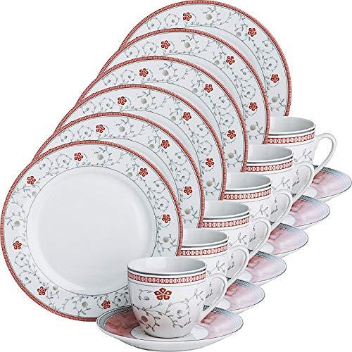 Gepolana Kaffeeservice, Porzellangeschirr 18-teilig, für 6 Personen - spülmaschinenfest, mikrowellengeeignet - Kaffeetasse, Untertasse, Dessertteller