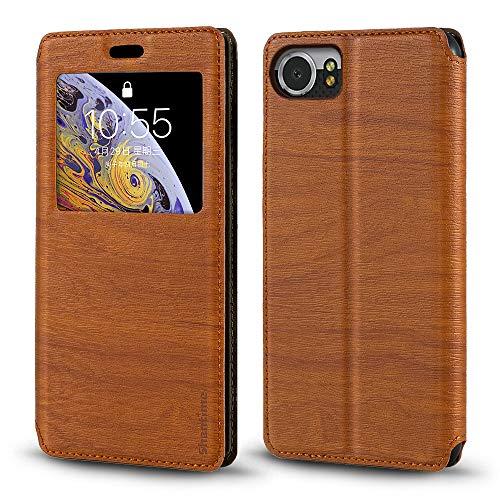 Schutzhülle für BlackBerry Keyone DTEK 70, Holzmaserung, Leder, mit Kartenfach & Sichtfenster, Magnetverschluss, für BlackBerry Mercury