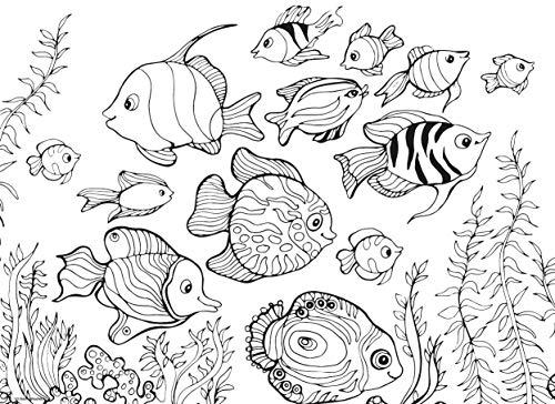 Tischsets I Platzsets - Malvorlagen für Kinder Fische zum Ausmalen - 12 Stück in hochwertiger Aufbewahrungsmappe