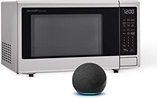 Sharp Works with Alexa Smart Countertop Microwave Oven, 1.4 Cubic Foot, Stainless Steel, with Echo Dot (4th gen), Charcoal