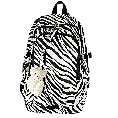 Linda Chica Mochila Mochila Casual Oso Colgante Mochila Escolar Mochila con Estampado de Vaca Mochila Escolar Viajes al Aire Libre Compras (Zebra)