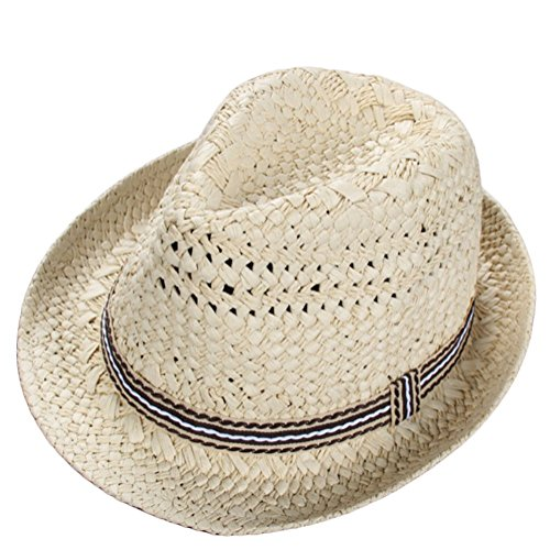 Demarkt Jazzhut Sonnenhut Strohhut Sommerhut Strandhut für Mädchen oder Junge Kappenumfang von etwa 49-52CM Beige