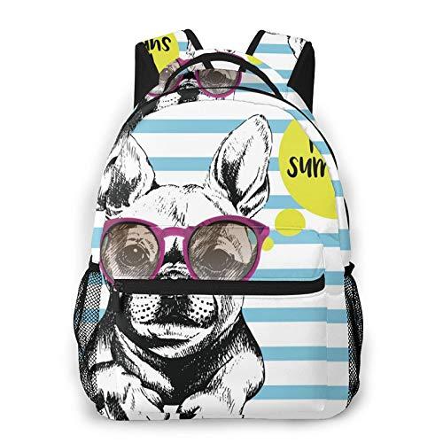 Perro desgaste púrpura gafas de sol patrón impresión mochila impresión portátil impermeable antirrobo mochila mochila mochila mochila mochila USB puerto de carga unisex