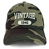 Trendy Apparel Shop 75th Birthday Vintage 1946 Soft Crown Brushed Cotton Cap - CAMO