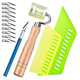 Multi-Purpose Wallpaper Tool Kit with PU Seam Roller, Smoothing Tool Include Two Size Squeegees, Sharp Graver with 10 Blades for Adhesive Paper Window Film and Car Deadening Mats Application Smoother