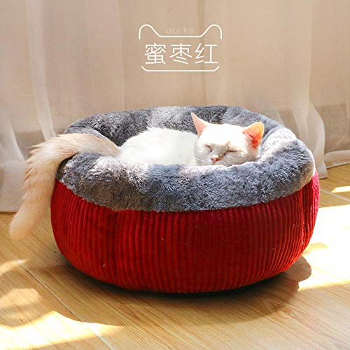 Cama para Perros de Felpa Suave y cálida Cama para Perros Cama para Dormir mullida sofá para Mascotas Perros pequeños y medianos de Varios tamaños -Rojo confitado_Grande 48 * 26