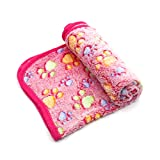 Treely Coral Fleece Paw Print Blanket Soft Warm Dog Blanket for Cat Puppy Sleep Mat Pad Bed Cover(Large Size 35.4' x 43.3', Pink)