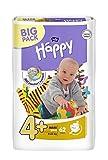 Bella Baby Happy Windeln Größe 4+ Maxi Plus 9-20 kg Big Pack, 4er Pack (4 x 62 Windeln)