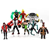 WTB Ben 10 Action Figures – 9-Piece Ben10 Figurine Set – Includes Four Arms, Grey Matter, Kineceleran, Diamondhead, Tennyson – Safe and Durable Free Stickers