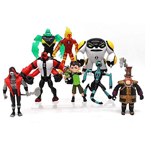 world toys brand Ben 10 Action Figures – 9-Piece Ben10 Figurine Set – Includes Four Arms, Grey Matter, Kineceleran, Diamondhead, Tennyson – Safe and Durable Free Stickers