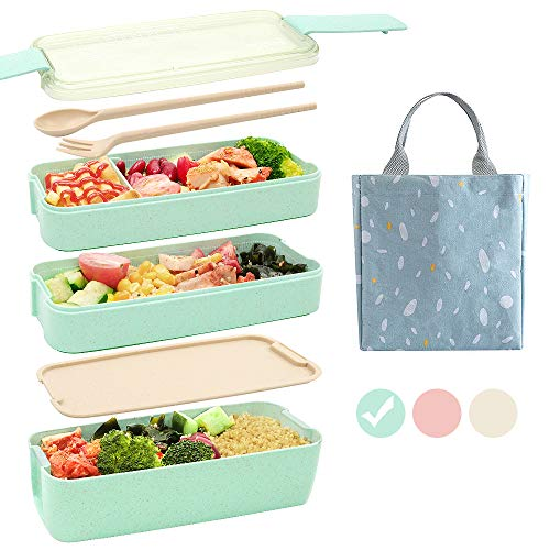 Ozazuco Bento Box Japanese Lunch Box, 3-In-1 Compartment, Wheat Straw, Leak-proof Eco-Friendly Bento Lunch Box Meal Prep Containers for Kids and Adults (Green)