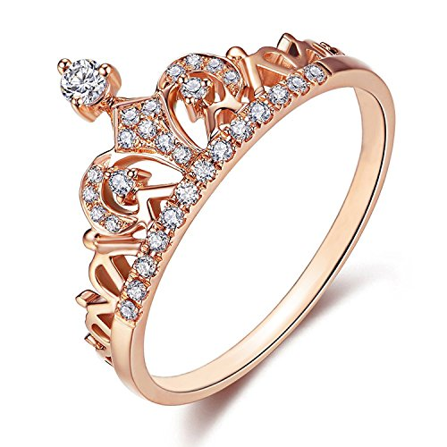 Presentski Women s Crown Tiara Rings Exquisite 18K Rose Gold Plated Princess Tiny CZ Diamond Accented Promise Rings (Rose Gold, 6)