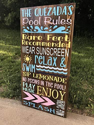 CELYCASY Poolregeln Schild | Großes Pool-Bereich-Schild
