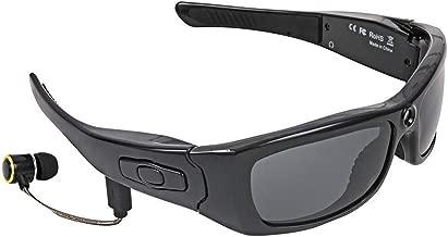 KTops Gafas de Sol Video cámara de la acción 1080P Bluetooth Manos Libres Auricular, espía de los vidrios con los Auriculares Desmontable, UV Lente Gran Angular y Anti-Impacto para Ciclismo, Negro