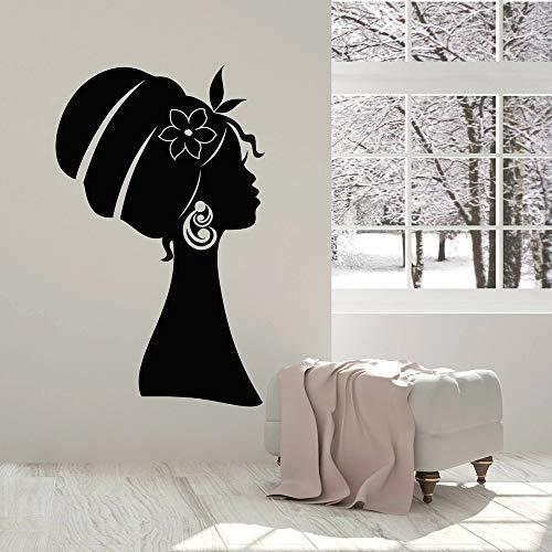 HGFDHG Calcomanías de Pared de niña Africana, Bragas de niña de Belleza, calcomanías de Vinilo para Pared de Dormitorio de Mujer Africana, decoración del hogar