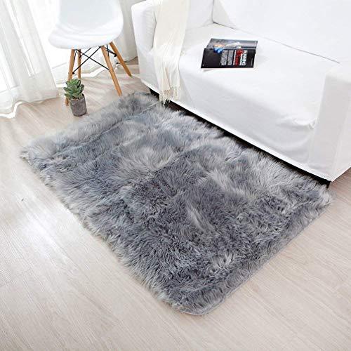 Spitzenqualität Lammfellimitat Teppich 60 x 90 cm Lammfellimitat Teppich Longhair Fell Nachahmung Wolle Bettvorleger Sofa Matte (Grau)