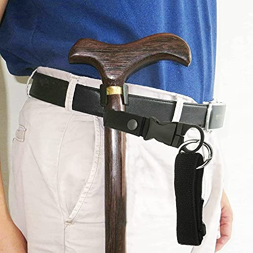Secure Walking Stick Crutch & Cane Elastic Wrist Strap and Mobility Walker Pants Clip Belt Holder Support Grip Aid Holders for Arthritis, Elderly, Seniors & Camping & Hiking ~ Perfect Solution(No Cane