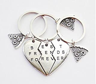 3 BFF Keychains Pizza Slice Keychains 3 Friendship Key Rings BFF Gifts 3 Best Friends Forever Key Rings Keychains Heart Puzzle Keyrings