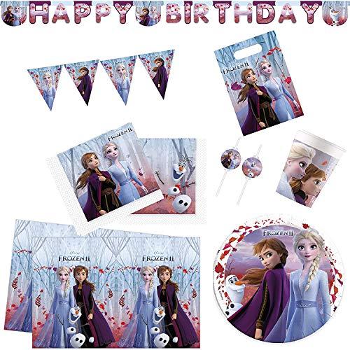Procos 10134723 Partyset XXL Disney Frozen 2, Die Eiskönigin, Anna und ELSA