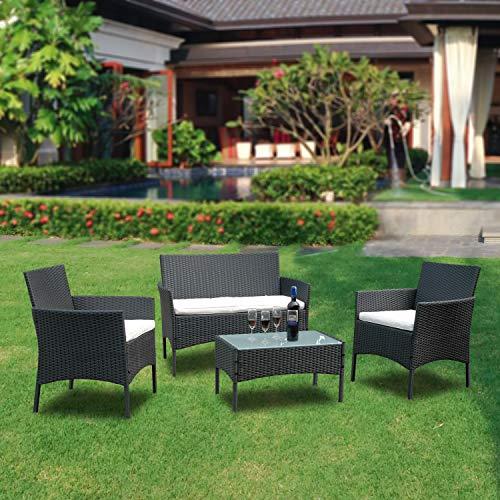 VINGO Balkon Möbel Set Poly Rattan Gartenmöbel inkl. 2er Sofa, Singlestühle, Tisch und Sitzkissen Hochwertige Sitzgruppe Schwarz für Garten Terrasse - 5
