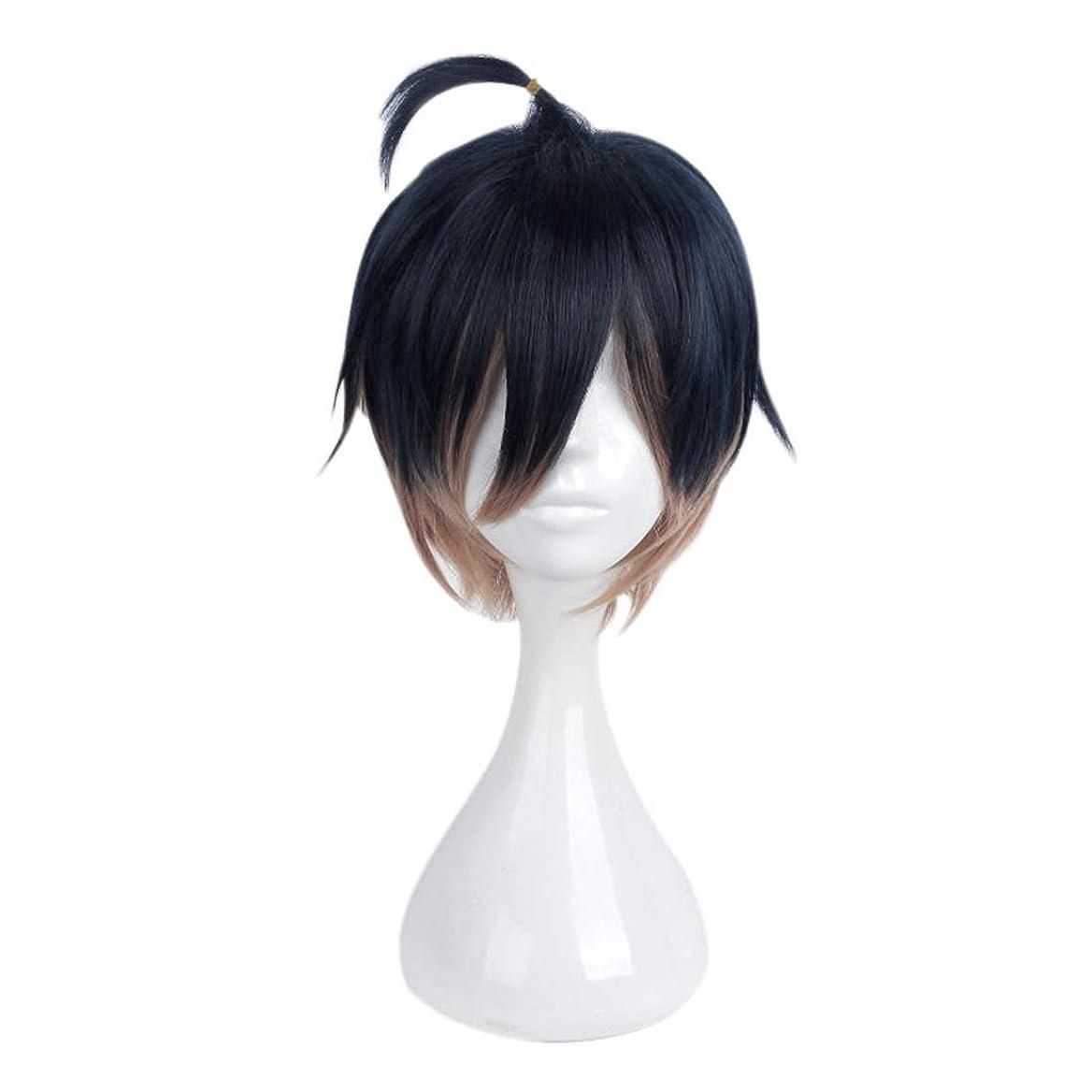 理容師拘束単独でKoloeplf ショートヘアグラデーションカラーウィッグコスプレウィッグメンズスモールスコーピオンマイクロショートヘア (Color : Gradient)