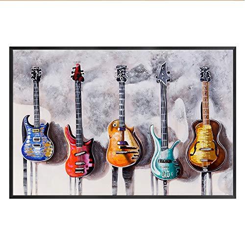 WSNDGWS Retro Nostalgische Grote muurschildering Rock Muziek Houten Board Gitaar Bar Restaurant Studio Achtergrond Muur Decoratieve Schilderij 40x80cm C2