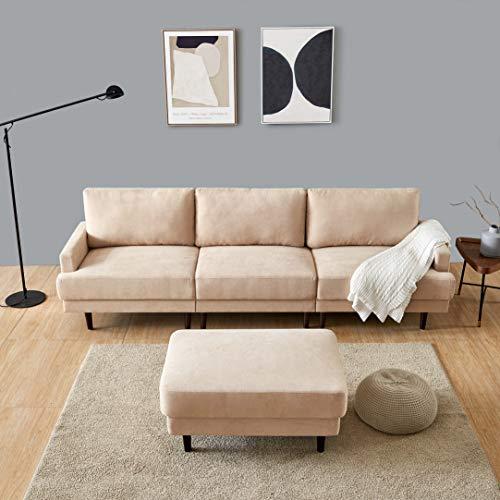 Modern Fabric Sofa L Shape, 3 Seater with ottoman-266cm Beige