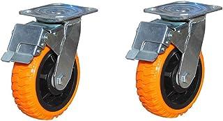 WaiMin MeubelCasters × 2, Heavy Duty Caster Polyurethaan, Deurwiel met remmen kan worden verhoogd en verlaagd demping/scho...