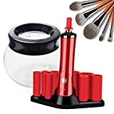 Allstarry Makeup Brush Cleaner Electric Spinning Dryer Nail Lacquer Shaker Portable Liquid Evenly Machine Gel Polish Shaking Mixer for Eyelash Glue Nails Polish Tattoo Ink Most Cosmetic Brushes (Red)