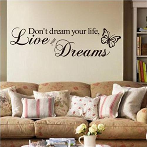 UNKE DIY HOMEDont dream your lifeButterfly Quote Removable Decal Art Mural Home Decor Wall Stickers