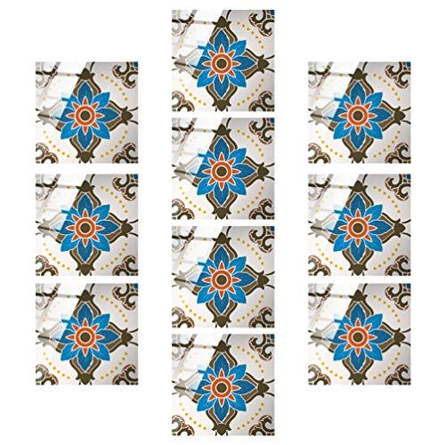 GARNECK 10Pcs Pelar Y Pegar Azulejos Pegatinas de Azulejos de Flores Pegar en La Cocina Backsplash Wallpaper para Baño Dormitorio Oficina Cocina Backsplash Decoraciones de Pared M