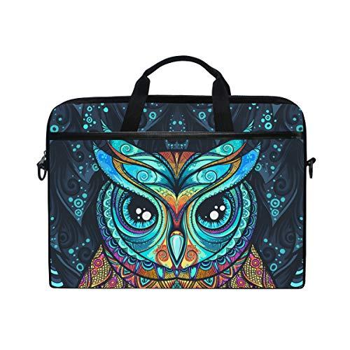 Ahomy 14 Zoll Laptoptasche Eule mit Tribal Ornament Canvas Stoff Laptop Tasche Bussiness Handtasche mit Schultergurt für Damen und Herren