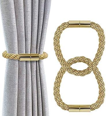 mydecorhome Magnetic Curtain Holdbacks Drapery Tiebacks: 2Pack 16 Inch Tie Backs Holdback for Blackout Sheer Window Treatment, (Beige, 2)