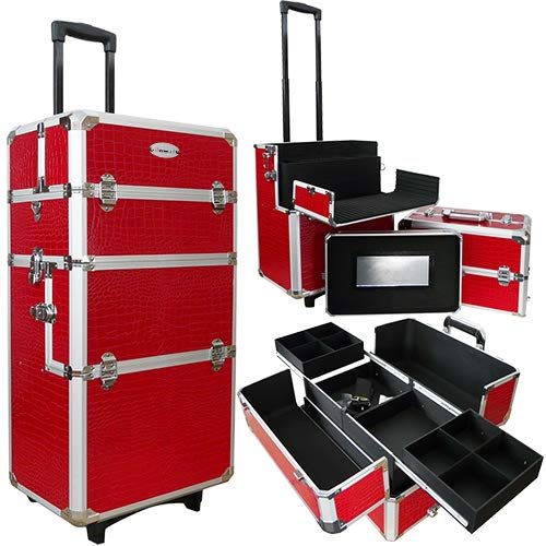 Aluminium nagel trolley 3 in 1 CROCO ROOD, pedicure, manicure. Ook als Sinterklaas trolley, trolly, koffer!