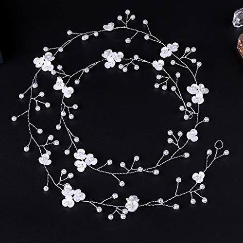 Niumanery Fashion Bride Wedding Headdress Handmade Resin Floral Faux Pearl Headwear Silver