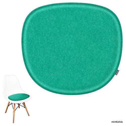 noe Eco Filz Sitzkissen geeignet für Vitra Eames Sidechair DSW,DSR,DSX,DSS - 29 Farben - optional gepolstert und mit Antirutsch! (minttürkis)