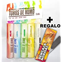 Pack 5 Und BENGALAS de humo de colores + REGALO 10 unidades de estrellas