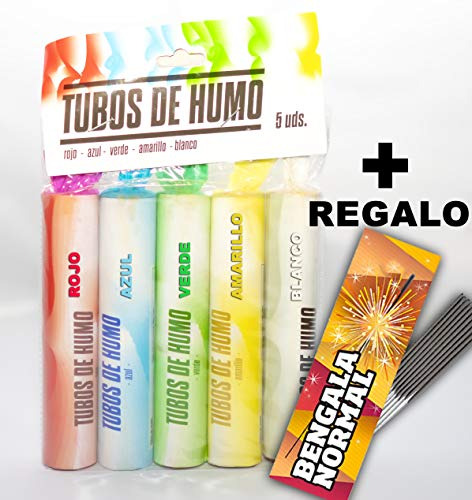 BENGALAS de humo de colores PACK 5 COLORES DIFERENTES + Regalo 10 unidades de Bengalas de Estrella