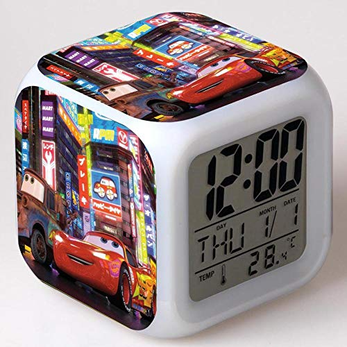 Reloj despertador para niños Reloj despertador digital de cabecera Reloj despertador con puerto de carga USB LED Luz de noche colorida Reloj despertador pequeño iluminado Silencio W1971
