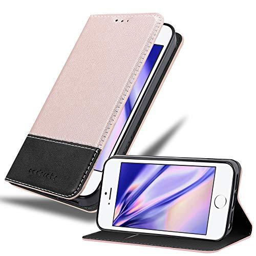Cadorabo Funda Libro para Apple iPhone 5 / iPhone 5S / iPhone SE en Rosa Oro Negro - Cubierta Proteccíon con Cierre Magnético, Tarjetero y Función de Suporte - Etui Case Cover Carcasa