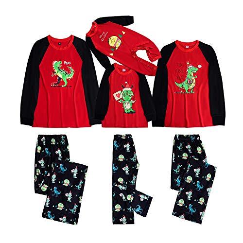 Herimmy Matching Family Christmas Tree Rex Pajamas Set Dinosaur Print Soft Cotton Sleepwear Pjs