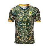 Jersey de rugby de la Coupe du Monde, Sud-Africain 2019 Springboks 7S Team Sports Team Rugby Jersey Uniforme Manches courtes 100% polyester Tissu respirant Toile de sport T-shirt Chemise de football p