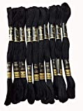 Anchor Beautiful Cross Stitch Cotton Embroidery Thread Floss/Skeins (Black) - Set of 6