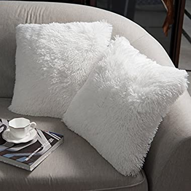 NordECO Luxury Soft Faux Fur Fleece Cushion Cover Pillowcase Decorative Throw Pillows Covers, No Pillow Insert, 18  x 18  Inch, White, 2 Pack