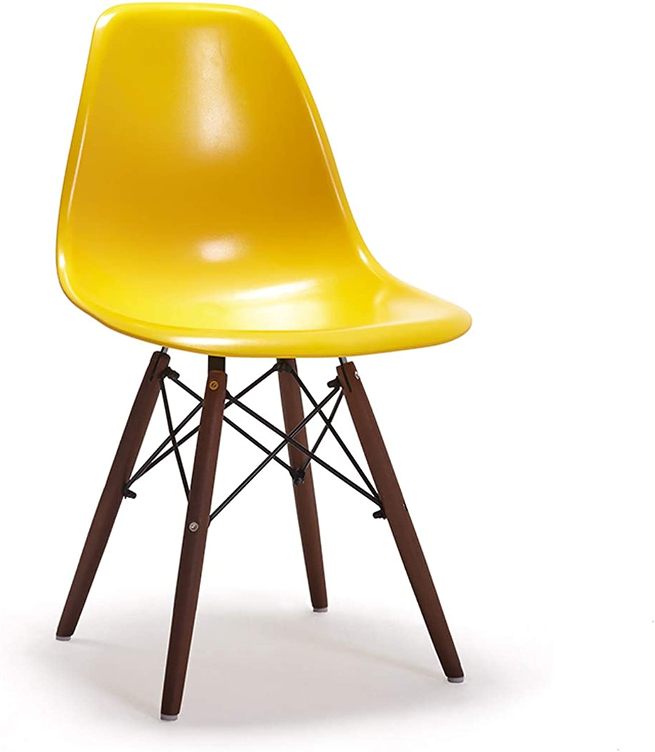LRW European Style Back Chair Creative and Fashionable Wooden Leg Chair (color   Yellow)