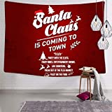 BXXAKS Merry Christmas Santa Claus Wandbehang Wanddekoration Wandteppich 3D Druck Bettdecke Vorhang Licht Design, weiß, 70.9 x 92.5 Inch