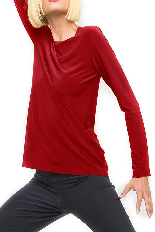 Norma Kamali  Women's Long Sleeve Crew Blouse  Red