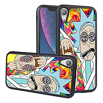 iPhone XR Case,LEALIN Rick and Morty Antiskid Handle Black TPU Phone Case for iPhone XR Cover