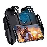 Phone Gaming trigger, Mobile Controller for pubg, Radiator Gamepad, 6 Fingers Shooting Phone Grip Joystick with cooling fan, Finger sleeve for PUBG, Call of duty, Fortnite, Fits for 4.7-6.5 inch phones