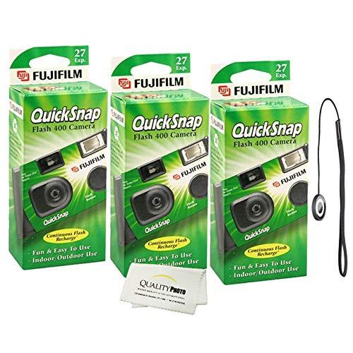 Fujifilm QuickSnap Flash 400 Disposable 35mm Camera (3 Pack) Bonus Hand Strap + Quality Photo Microfiber Cloth